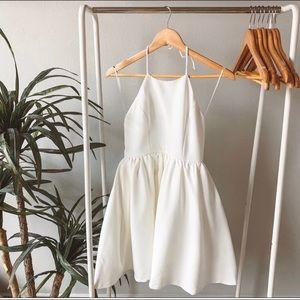 Lulu's chic freely ivory backless skater dress
